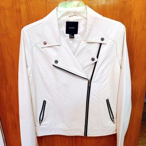 White faux leather jacket with black accents